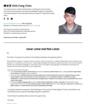 SW engineer in AI / Computer Vision / Robotics fields 简历范本 - Shih-Fang Chen Learner in the fields of Computer Vision, Deep Learning, Robotics • Taoyuan,TW M.S., in Computer Science and Engineering (Computer V...