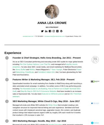 Resume Examples - ANNA LEA CROWE DIRECTOR OF SEO annaleacrowe.com • annaleacrowe@annaleacrowe.com • Palm Harbor, Florida, USA Experience Founder & Chief Strategist, ...