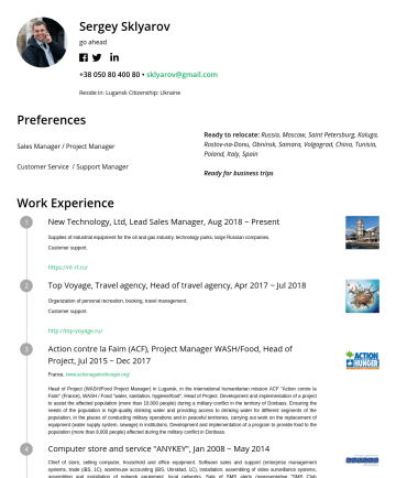 International sales manager Resume Examples - Sergey Sklyarov go ahead • sklyarov@gmail.com Reside in: Lugansk Citizenship: Ukraine Preferences Sales Manager / Project Manager Customer Service ...