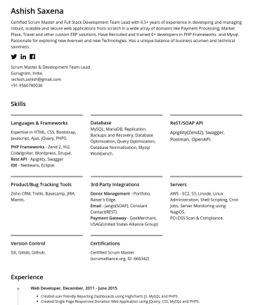 Technical Architect/Project Manager Resume Examples - Ashish Saxena Scrum Master and Technical Architect with 8+ years of experience in developing and managing robust, scalable and secure web applicati...