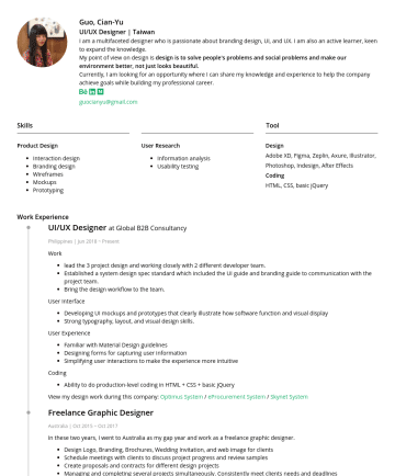UIUX Designer  Resume Examples - Guo, Cian-Yu UI/UX Designer | Taiwan I am a multifaceted designer who is passionate about branding design, UI, and UX. I am also an active learner,...
