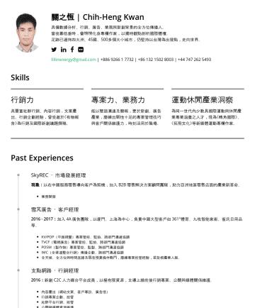 BD Director / Product Director / Senior BD Manager Resume Examples - 關之恆 | Chih-Heng Kwan 具備數據分析、行銷、廣告、業務與新創背景的全方位傳播人。 當夜幕低垂時,會悄悄化身專欄作家,以本科獨特觀點剖析國際體壇。 足跡遍佈四大洲、48 國、400 多個大小城市,以台灣為支點躍向世界。 fillinenergy@gmail.com |Core ...