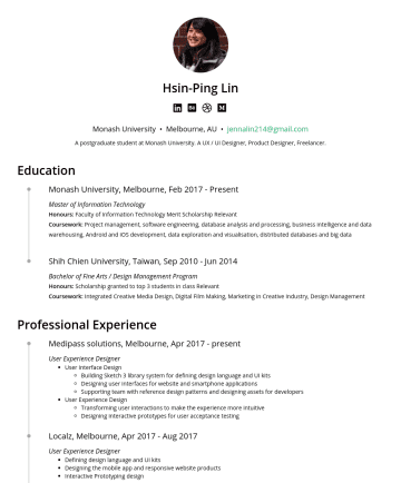 Senior UI/UX Designer 简历范本 - Hsin-Ping Lin I am an experienced UX/UI designer with a product mindset. I have designed end-to-end solutions to benefit customers from large enter...