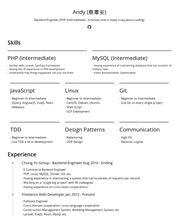 Software engineer Resume Examples - Andy 軟體工程師 Tainan, TW shavenking@gmail.com工作經歷 CTO @ 私人企業現在 從無到有系統分析、規劃、建置、上線營運 針對大量資料優化 善用 AWS 維護高可用服務、阻擋惡意攻擊 外包團隊管理、整合、溝通 協助企業釐清需求本質、以工程的角度給予專業的意...