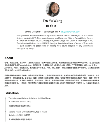 Sound Designer Resume Examples - Tzu Ya Wang Sound Designer • Edinburgh, Taiwan • tzuywa@gmail.com I was graduated from Motion Picture Department, National Taiwan University of Art...