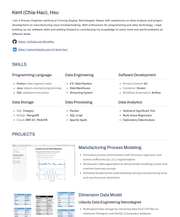 數據工程履歷範本
