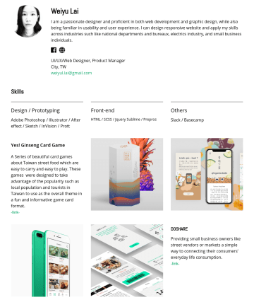 UI/UX/Web Designer, Product Manager, Design Lead Resume Examples - Weiyu Lai I am a passionate designer and proficient in both web development and graphic design, while also being familiar in usability and user exp...