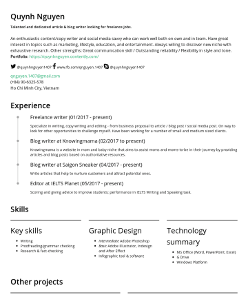 Resume Examples - Quynh Nguyen Talented and dedicated article and blog writer. An enthusiastic writer whose dream is to change the world with words. Have great inter...