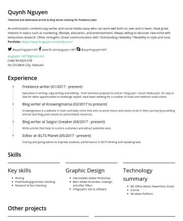 Quỳnh Nguyen's resume