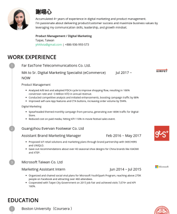 Product Management / Digital Marketing Resume Examples - 謝翊心 Accumulated 4+ years of experience in digital marketing and product management. I'm passionate about delivering product/customer success and ma...