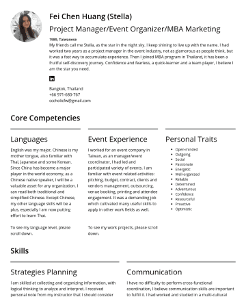 Event Organizer  简历范本 - Fei Chen Huang (Stella) Project Manager/Event Organizer/MBA Marketing 1989, Taiwanese My friends call me Stella, as the star in the night sky. I ke...