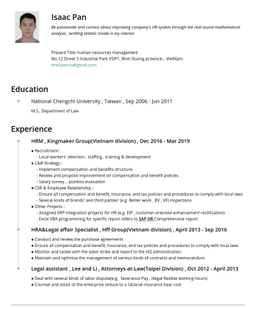 Senior HRD  Resume Examples