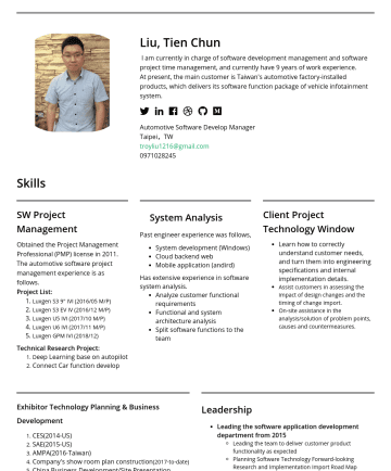 軟體開發經理 Resume Examples - Liu, Tien Chun I am currently in charge of software development management and software project time management, and currently have 9 years of work...
