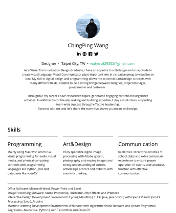 Designer Resume Examples - ChingPing Wang Designer • Taipei City, TW • waherof29502@gmail.com As a Visual Communication Design Graduate, I have an appetite to art&design and ...
