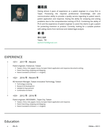 專利工程師 Resume Examples - 鍾易辰 Having almost 4 years of experience as a patent engineer in a busy firm in Taipei. Possessing the required professional knownledge, skill and c...