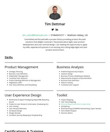 Tim Dettmar's resume