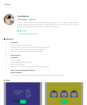Product Designer 简历范本 - ✌️ Hi There! Chunling Pan UIUX Designer ・ Taipei TW I have 7+ years of experience in the design field, participated in many types of design project...