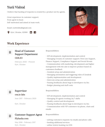 Acting Head of Customer Support Department Resume Examples - Yurii Vishtal I believe that backlog of requests is created by a product not by agents. Great experience in customer support. From agent to head. S...